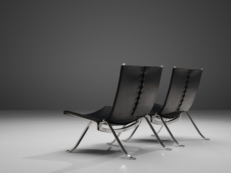 Preben Fabricius Set of Two Lounge Chairs in Black Leather For Sale 1