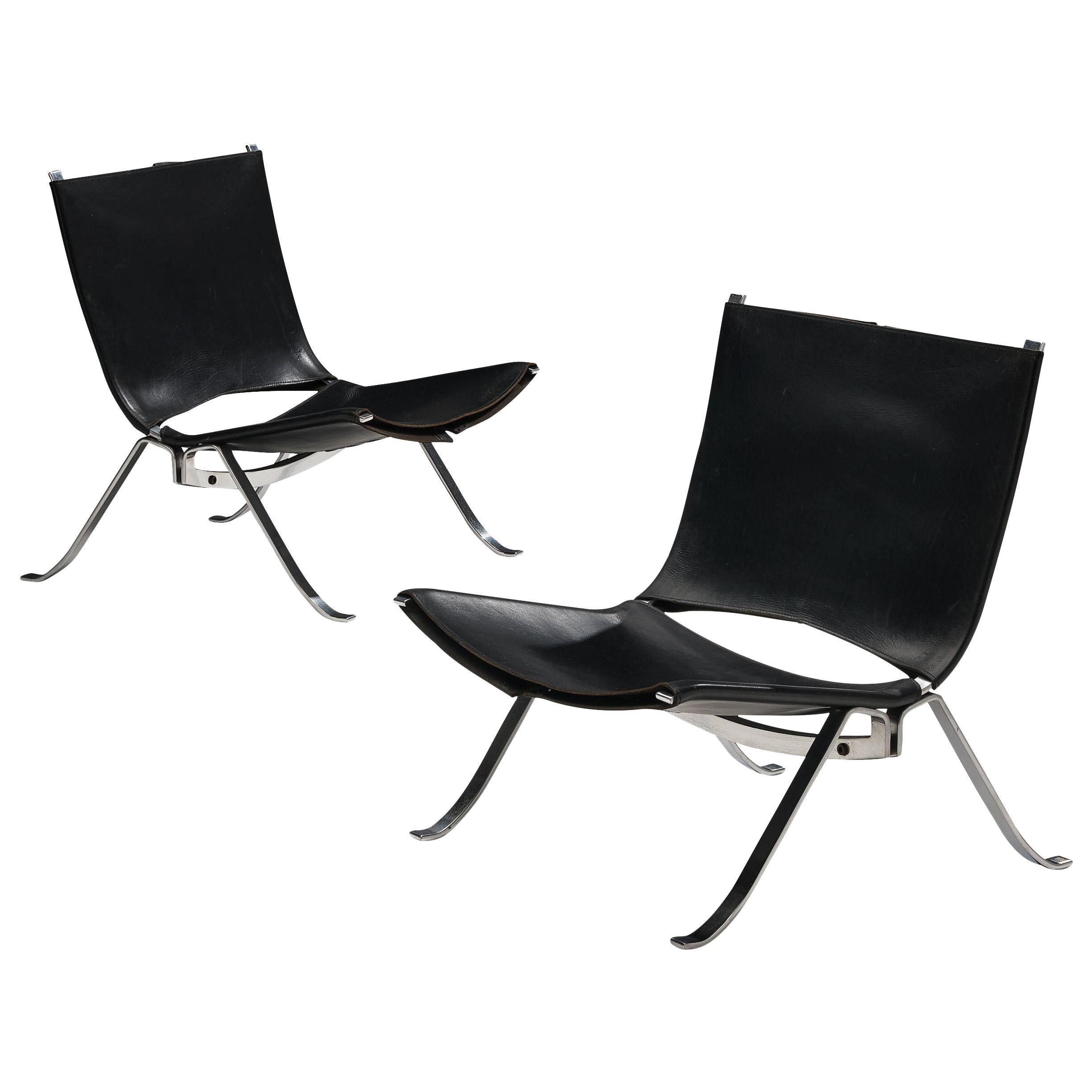 Preben Fabricius Set of Two Lounge Chairs in Black Leather
