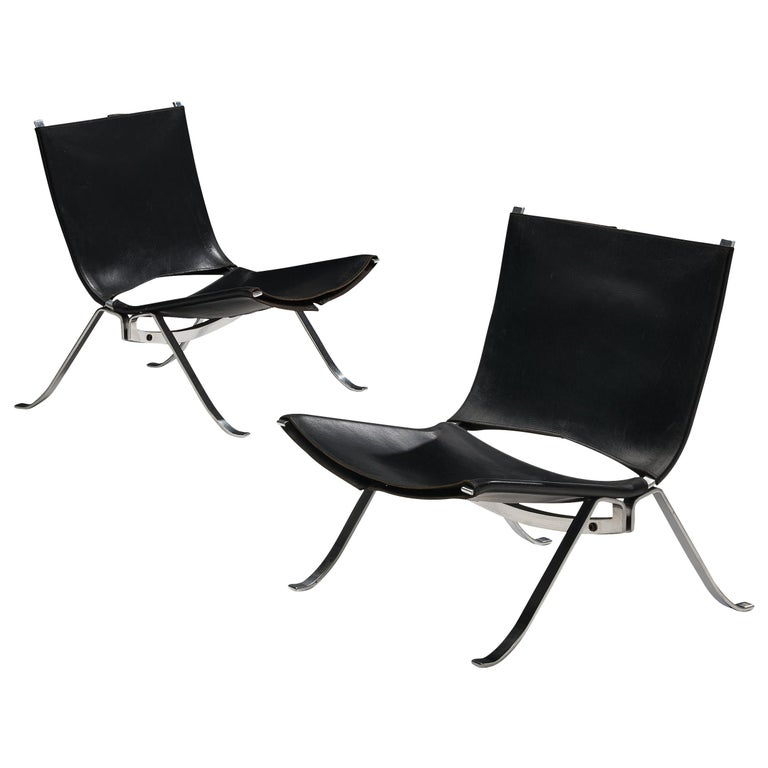 Preben Fabricius Set of Two Lounge Chairs in Black Leather For Sale