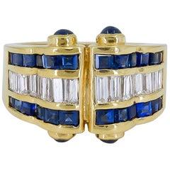 Precious 18 Karat Yellow Gold and 3.93 Carat Sapphire Diamond Ring