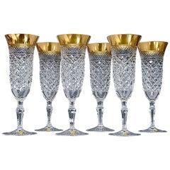 Precious 6 Champagne Glasses Gold Crystal Glass Stemware Josephinenhuette Moser