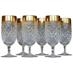 Precious 6 Cocktail Beer Glasses Gold Crystal Stemware Josephinenhuette Moser