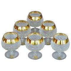 Precious 6 Cognac Glasses Gold Crystal Glass Stemware Josephinenhuette Moser