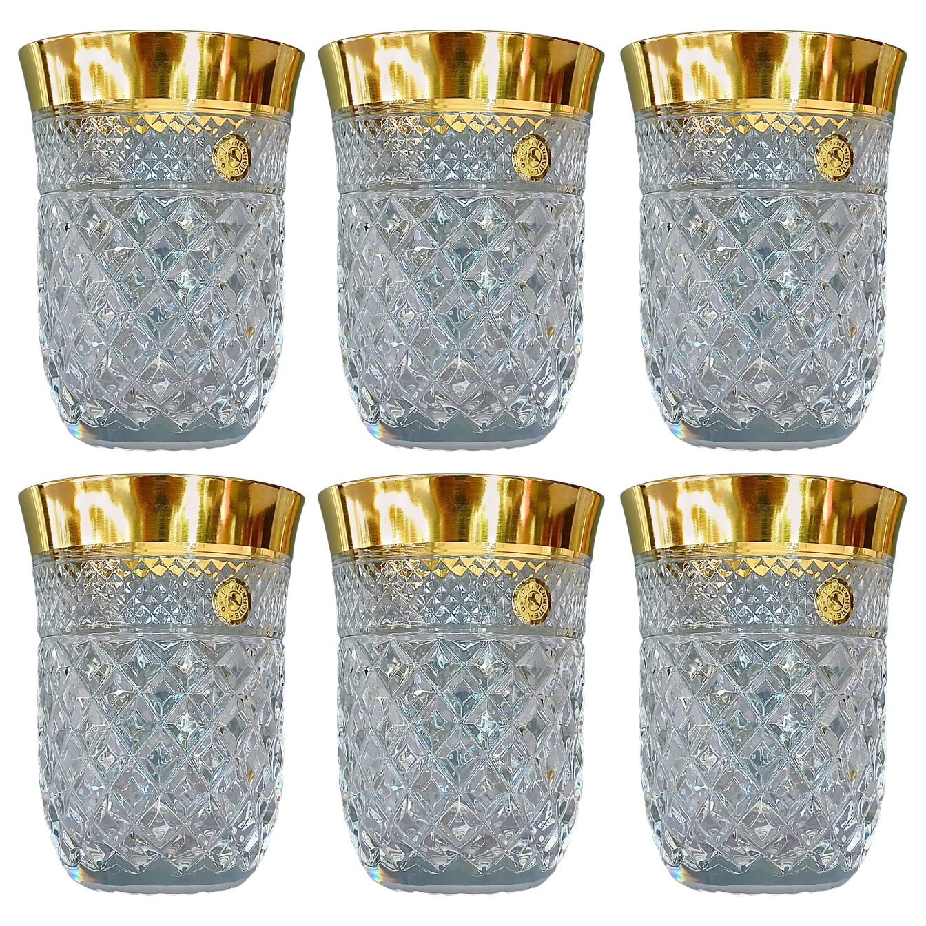 Precious 6 Water Glasses Gold Crystal Glass Tumbler Josephinenhuette Moser