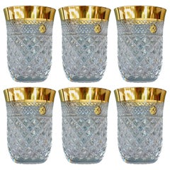Precious 6 Water Glasses Gold Crystal Glass Tumbler Josephinenhuette Moser