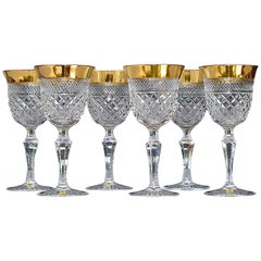 Precious 6 White Wine Glasses Gold Crystal Glass Stemware Josephinenhuette Moser