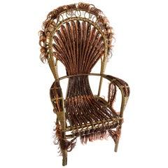 Precious Armchair, rattan and synthetic fibers, Art Modern