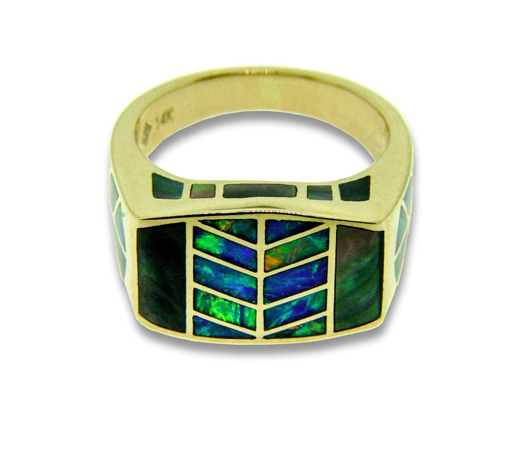 14 karat gold precious Australian opal inlay ring designed by International award-winning jewelry designer, Jonathan Duran, with the