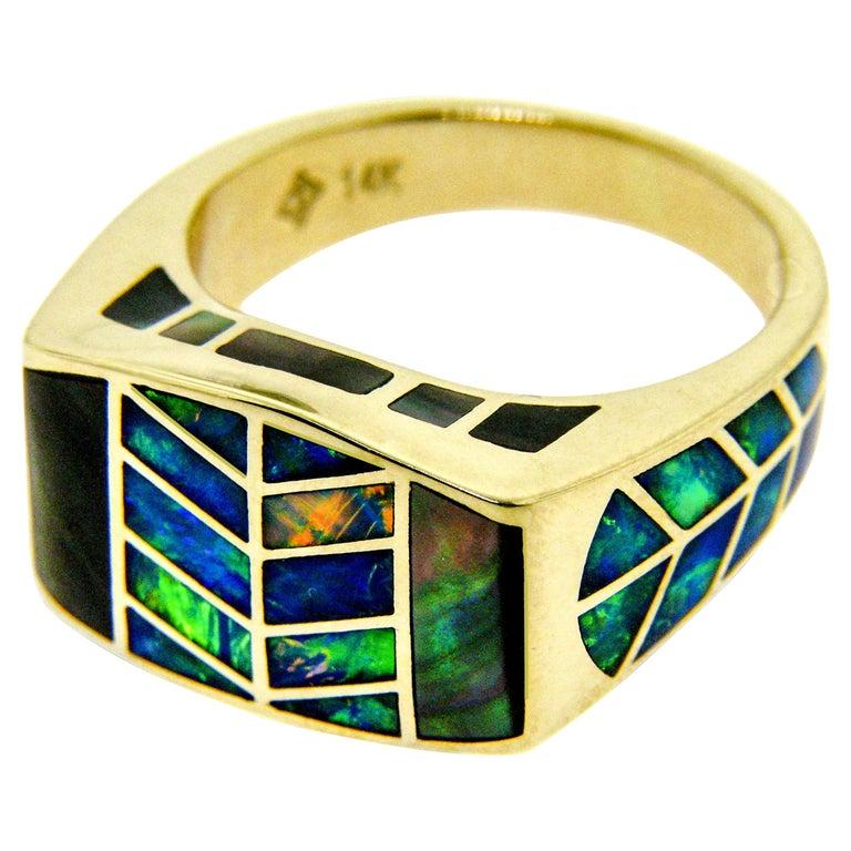 "Precious Australian Opal Inlay ""Hawk Feather"" 14 Karat Gold Signet Ring For Sale"