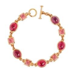 Precious Basics Bracelet, 18 Karat Rose Gold, 10 Rubelites 29.55 Carat