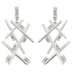 Precious Basics Earrings, 18 KT White Gold, 14 Baguette Diamonds 2.25 ct tw/vsi