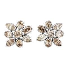 Precious Basics Earrings, 18 Karat White Gold 16 Cognac Colored Diamonds 9.05 Ct