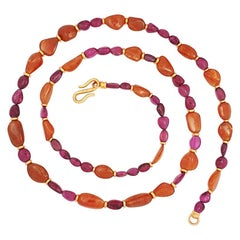 Precious Basics Necklace in 18 Karat Rose Gold, Mandarin Garnets and Rubelites