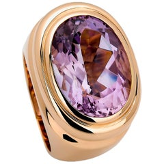 Precious Basics Ring in 18 Carat Rose Gold Set with 1 Amethyst of 12.24 Carat
