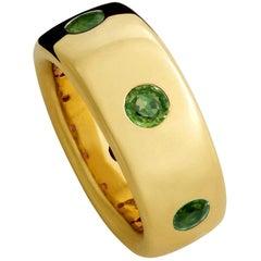 Precious Basics Ring in 18 Carat Yellow Gold, 6 Emeralds 1.05 Carat