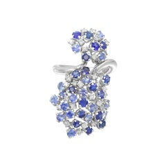 Precious Blue, Purple Sapphire White Diamond 18 Karat Gold Flower Statement Ring