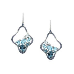 Precious Blue Sapphire / Topaz White Diamond White Gold Drop Earrings