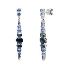 Precious Blue Sapphire White Diamond White Gold 18 Karat Drop Earrings