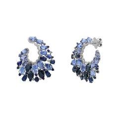 Precious Blue Sapphire White Diamond White Gold 18k Statement Designer Earrings