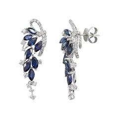 Precious Blue Sapphire White Diamond White Gold Drop Earrings