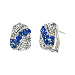Precious Blue Sapphire White Diamond White Gold Statement Designer Earrings