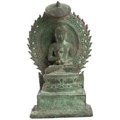 Precious Bronze Throned Buddha, Indonesia, 13th Century