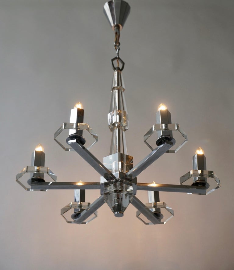 Italian Precious Faceted Crystal Glass Art Deco Chandelier For Sale