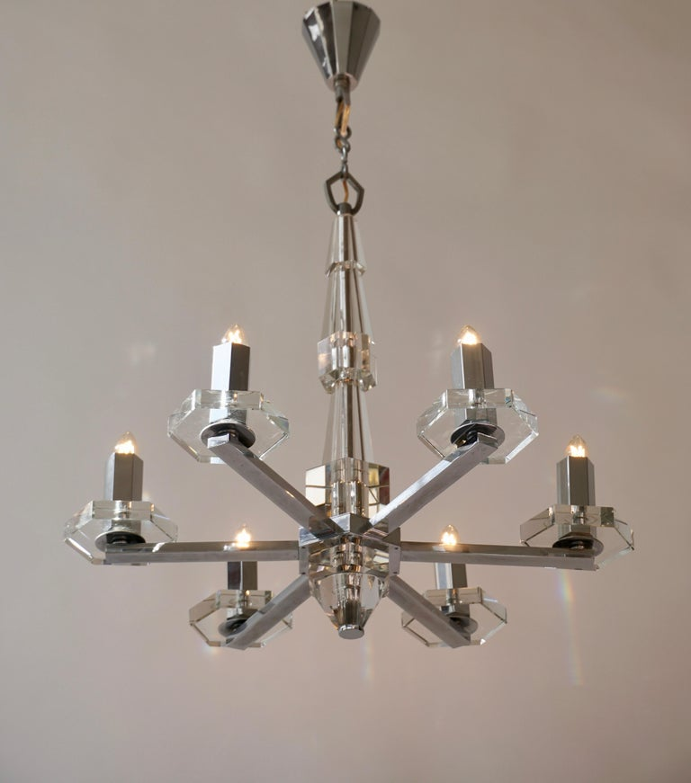 Precious Faceted Crystal Glass Art Deco Chandelier For Sale 1