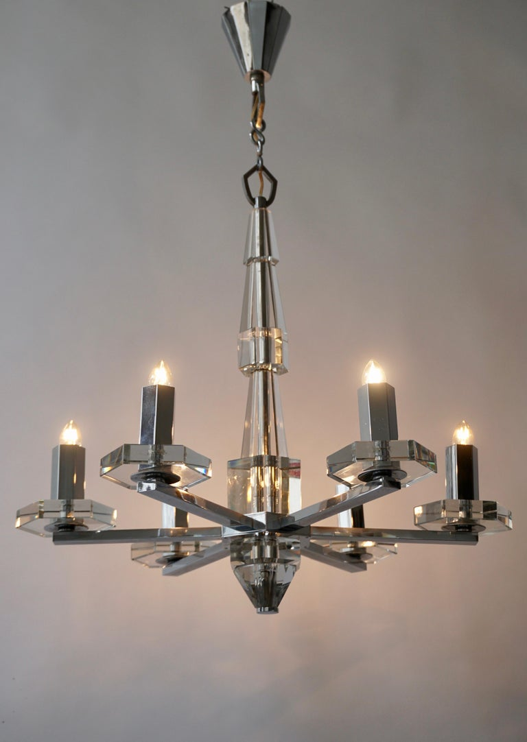 Precious Faceted Crystal Glass Art Deco Chandelier For Sale 2