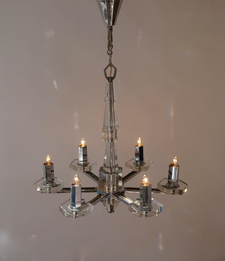 Precious Faceted Crystal Glass Art Deco Chandelier For Sale 4