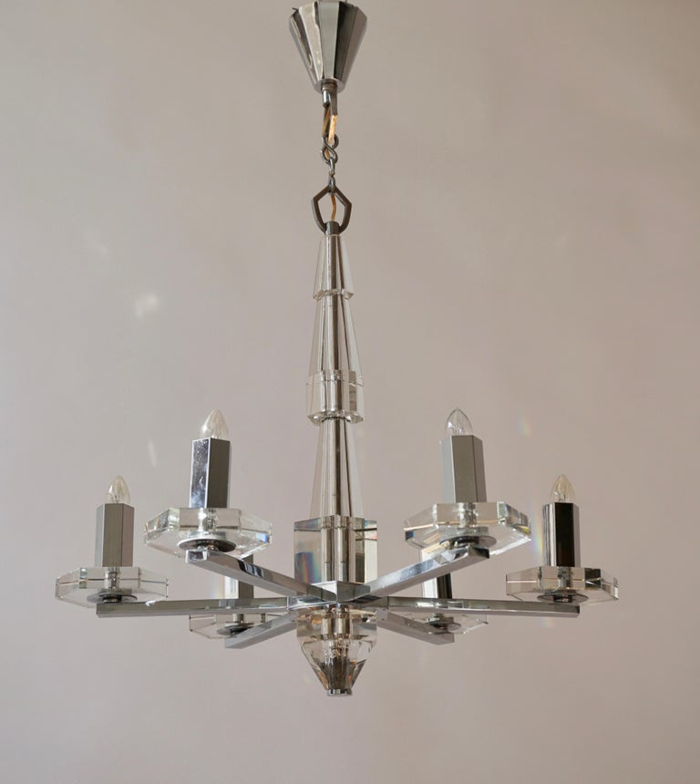 Precious Faceted Crystal Glass Art Deco Chandelier For Sale 5