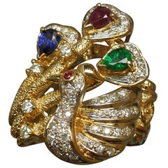 Precious Gemstone Gold Peacock Statement Ring