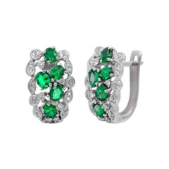 Precious Green Emerald White Diamond Gold Sophisticated Lever-Back Earrings