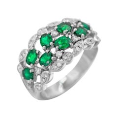 Precious Green Emerald White Diamond White Gold Sophisticated Daily Ring