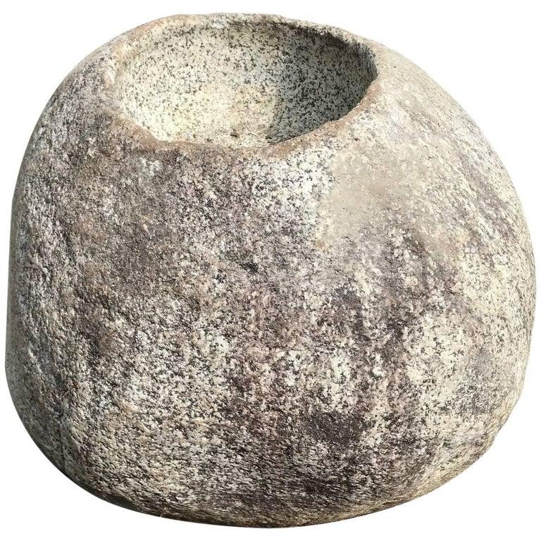 """Precious Japanese Antique """"Natural Boulder"""" Stone Water Basin Planter, Unique For Sale"""