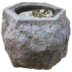 "Precious Japanese Old Hand Carved Gray ""Boulder"" Stone Basin Planter, Unique"