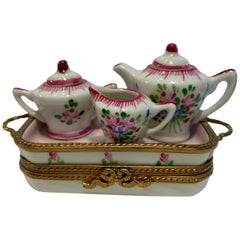 Precious Limoges France Hand Painted Porcelain Miniature Afixed Tea Set Box