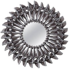Precious Mirror, rattan and synthetic fibers, Art Modern