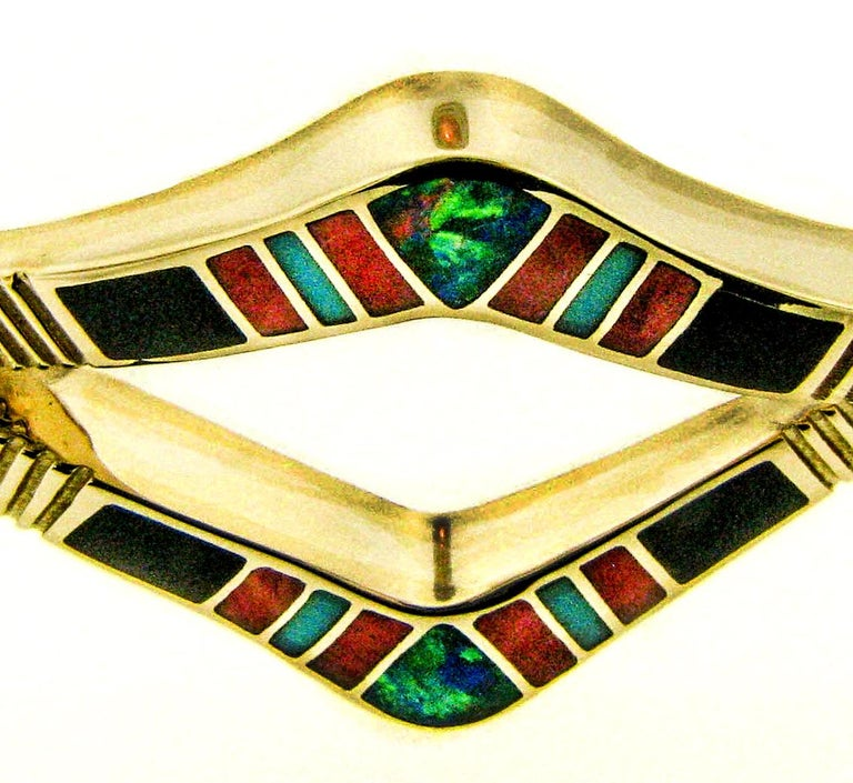 Precious Opal, Turquoise, Spiny Oyster, Onyx Inlay 14 Karat Gold Bracelet In New Condition For Sale In Santa Fe, NM