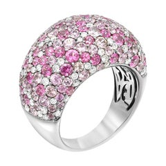 Precious Pink Sapphire White Diamond Spinel 18 Karat White Gold Fashion Ring