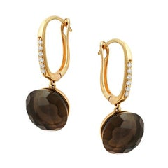 Precious Quartz Diamond Fabulous Yellow Gold 18 Karat Earrings