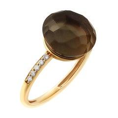 Precious Quartz Diamond Fabulous Yellow Gold 18 Karat Ring