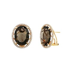 Precious Quartz Diamond Gold Yellow Earrings