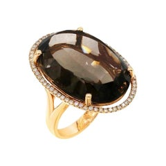 Precious Quartz Diamond Gold Yellow Ring