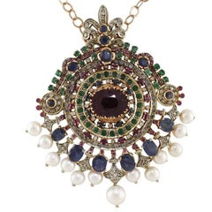Precious Stones Diamond Pearl Gold And Silver Necklace