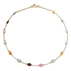 Sapphire Aquamarine Spinel Gold Chain Necklace
