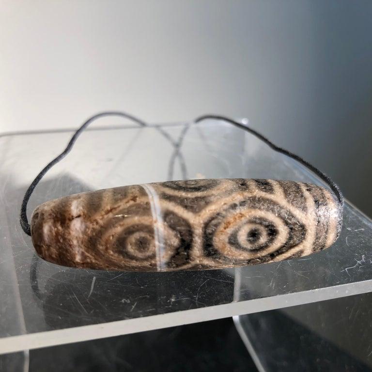 Precious Protective Tibet Antique Six Eye Dzi Bead Amulet Necklace  For Sale 7