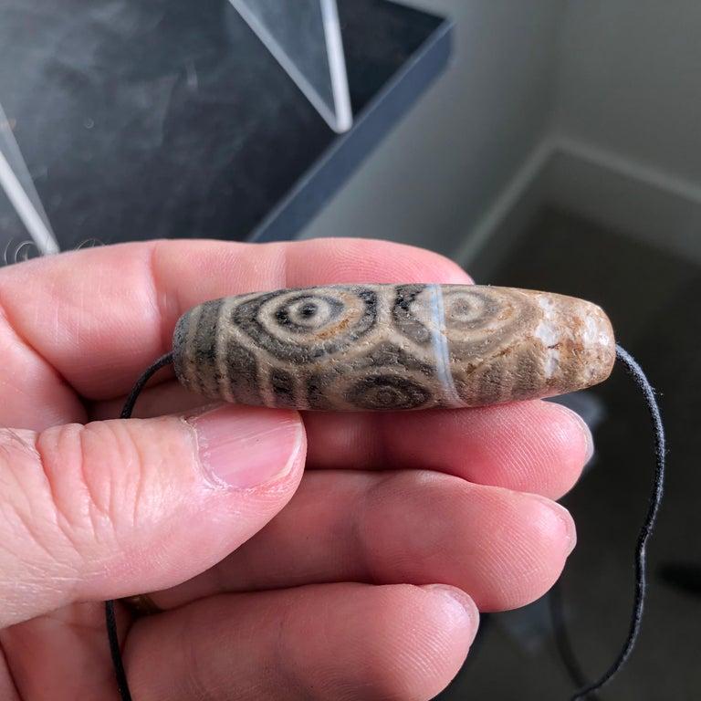 Precious Protective Tibet Antique Six Eye Dzi Bead Amulet Necklace  For Sale 10