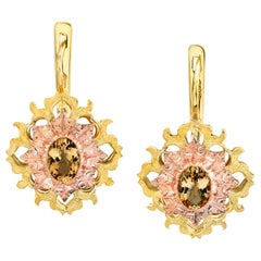Precious Topaz 18k Rose and Yellow Gold Latch Back Earrings
