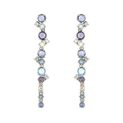 Precious Topaz Blue Sapphire Diamond Cocktail White 18K Gold Dangöe Earrings